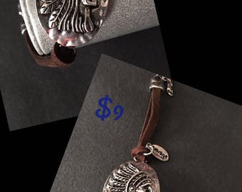 Corded Indian Head Native American Bracelet