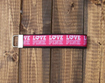 """Hot Pink Love Pink Brand Logo Fashion VS Keychain Wristlet 