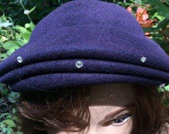 Vintage Women's Henry Pollak Navy Blue Felted Wool Hat with Rhinestone Embellishments Women's Hat Beret 1960's Hat
