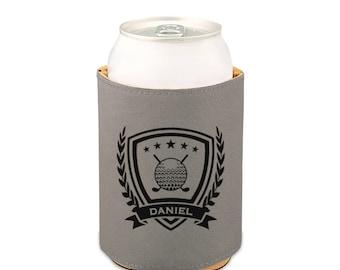 Personalized Golf Beverage Holder/Laser engraved custom beer holder, beverage insulator, leather beer holder, can cooler personalized