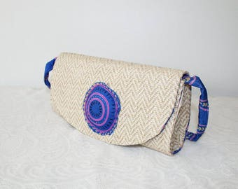 Underarm bag, hippie style, folklore style, underarm bag with carrying strap, alpana pattern