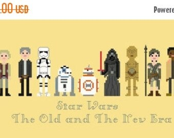 "Star wars Counted Cross Stitch Star wars: the old and the new era Pattern Pixel People cross stitch - 14.57"" x 4.79"" - L1118"