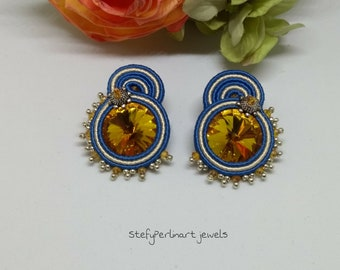 Soutache earrings-handmade earrings-yellow and blu earrings-made in Italy earrings
