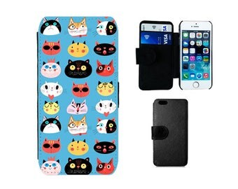 Wallet case iPhone 6S 6 Plus SE 5S 5C 5 8 7 4S, Samsung Galaxy Flip S8 Plus S7 S6 Edge, S4 S5 Mini Note 5 Cat phone flip cover gifts. F344