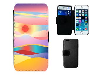Wallet case iPhone 6S, 6 7 8 Plus, SE X 5S 5C 5 4S, Samsung Galaxy Wallet S8 Plus, S7 S6 Edge, S4 S5 Mini, sunset summer phone case. F355