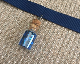 Blue Glitter Bottle Choker