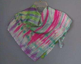 Silk scarf, hand dyed silk, spring scarf, green silk, square scarf, pink silk, silk headscarf