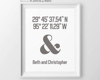 Valentines Gift House Coordinates Longititude Latitude Personalized Gift for Couple Housewarming Gift Personalized Couples Ampersand Decor