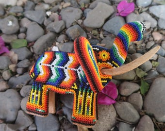 ELEPHANT carved wood handmade beaded by mexican Huichol artesans