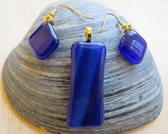 Dark Blue Fused Glass Pendant and Earring Set