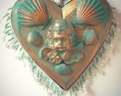 Cupid Heart Ornament Baroque Rococo Original OOAK Angel Wings Shell Wall Art Gold Green Ready To Hang Gift