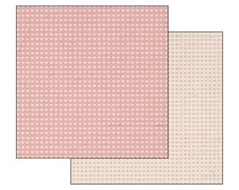 Scrapbooking paper, cardstock double sided stitch pink heart