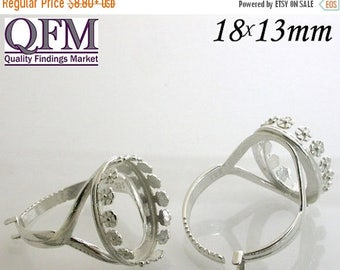 ON SALE 1 Pc/pk Adjustable locking Ring - Bezel Cup in Silver, Oval Shaped flowered style