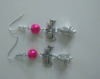 Beautiful earrings ' collection, Christmas Bell and pink