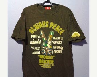 ON SALE 4 Vintage 90s save the world by kriff mayer always peace tee shirt