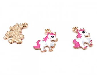 10 enameled Charms 24 mm fuchsia colored Unicorn