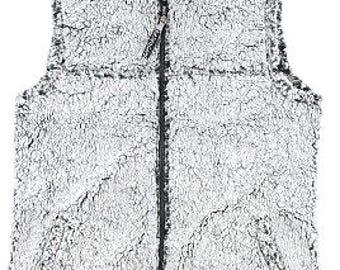 Monogrammed Smokey Grey Sherpa Vest, Great for Winter, Warm, Plush, Fleece, Mardi Gras, Christmas, Skiing, Camping, Cold Weather Wear