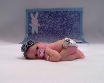 "Polymer Clay Babies ""Awake Blue Eyes, SIZE 2.5"" Gift, Keepsake, Collectible, Cake Topper, Home Shelf Display Decor, Memorial, Christmas"