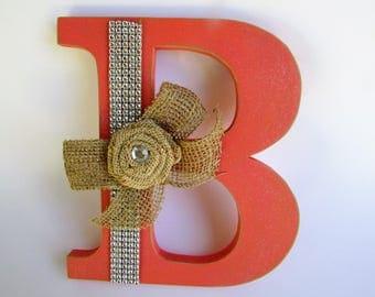 Coral name letter - Burlap letter - Wedding decor - Wedding letter - Photo prop - Coral and burlap letter - Rustic name letter - Wall decor