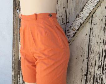 1950s 1960s Orange High Waisted Shorts Small
