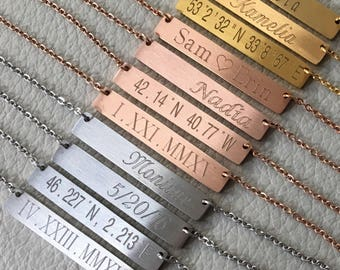 bridesmaid necklace,stainlees steel bar necklace, bridesmaid gift,gold bar necklace