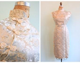 Vintage 1950's Silver Brocade Cherry Blossom Dress Set | Size Medium