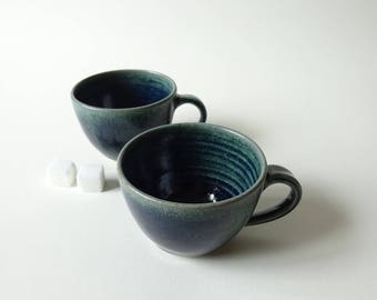 Pair of Espresso Cups - Set of two blue green espresso cups - Handmade ceramic coffee cups - Pottery coffee small cups