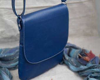 Leather Purse Blue Handbag Crossbody Bag Leather Handbag Blue Leather Genuine Leather Portuguese Leather Handmade Purse