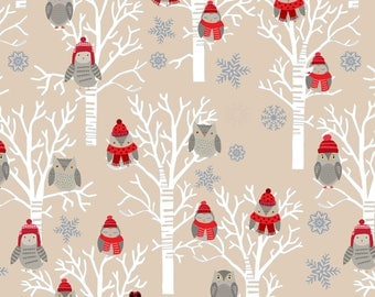 Snow Delightful Fabric Christmas Ecru Owls in Trees Owl Studio E Cotton Fabric