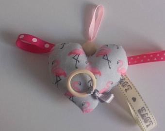 Bebe.Doudou Flamingo rose.eveil and teething rattle.