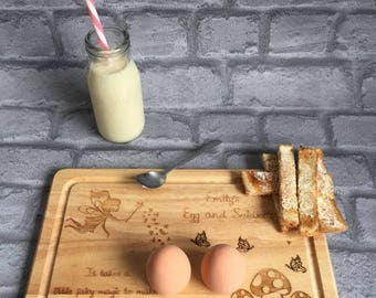 Personalised Wood Egg and Soldiers board, fairy, toadstools, butterflies, breakfast, children, gift