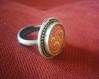 Indian adjustable Om silver finger ring