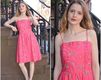 Malia dress | vintage 1970s dress | pink floral 70s cotton dress