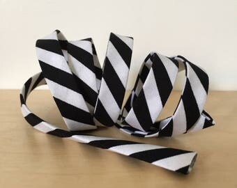 "Bias Tape in Michael Miller Black and White Striped cotton 1/2"" double-fold binding- Clown Stripe- 3 yard roll"