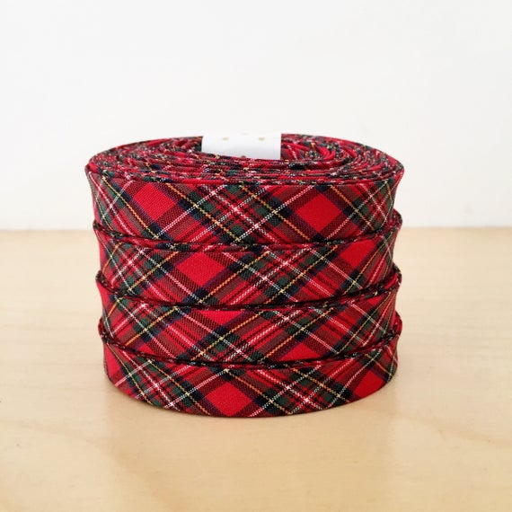 "Kaufman Sevenberry Red Tartan Plaid Cotton 1/2"" double-fold bias tape- Holiday collection- 3 yard roll"