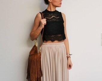 Maxi jupe longue beige taille haute, jupe longue mariage ,jupe longue plissée, jupe longue bohème demoiselle d'honneur