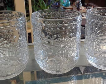 Clear Daisy Glasses or Candleholders