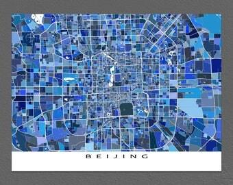 Beijing Map Print, Beijing China, Blue City Street Art