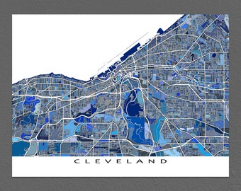 Cleveland Map, City Map Poster, Cleveland Ohio, Street Map Art