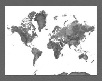 Map of the World, World Map Art Print, Black and White