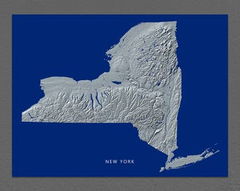 New York Map, New York Wall Art, NY State Art Print, Landscape, Navy Blue
