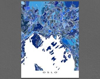 Oslo Map Art, Oslo Norway, Europe City Street Print, Blue Maps