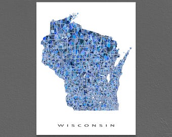 Wisconsin Map Artwork, Wisconsin Print, WI State Maps