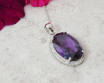925 Sterling Silver Amethyst Large Oval Pendant, Silver Amethyst Statement Necklace, Amethyst Jewelry, February Birthstone, Birthday Gift