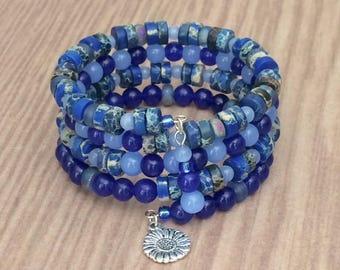 Beaded Blue Cuff Bracelet Blue Memory Wire Bracelet Multi Wrap Bracelet Blue Memory Bracelet Gemstone Bracelet Wrap Bracelet Stack Bracelet