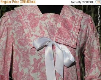 Vintage Laura Ashley SAILOR DRESS, Pink Toile cotton, Edwardian wedding, New Romantic Neo-Victorian, pastel roses print, midi dress, US 12
