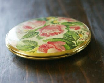 Vintage Gold Tone Pink Floral Round Pocket Mirror Compact Made in West Germany M-107
