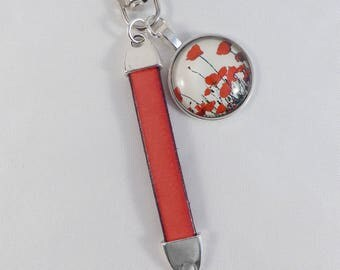 """Key-red """"poppies"""". Leather and metal"""