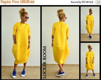 ON SALE Oversize neoprene dress / Plus size dress / Maxi long tunic / Long sleeves yellow top/maternity dress