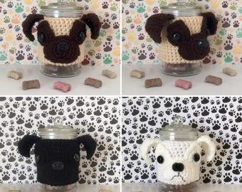 Crazy Pug Lady - Pug Stuff - Pug Gift Ideas - Dog Treat Jar - Pug Dad - Pugs and Kisses - Pug Items - Pug Rescue - Crochet Pug - Pug Rescue